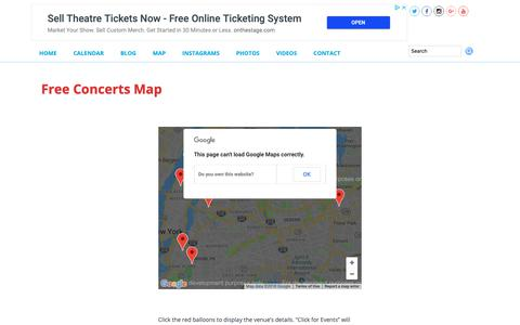 Screenshot of Maps & Directions Page nycfreeconcerts.com - Free Concerts Map – NYC FREE CONCERTS - captured Oct. 19, 2018