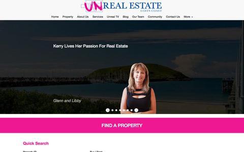Screenshot of Home Page unre.com.au - Unrealestate Coffs Coast > Home - captured Oct. 2, 2014