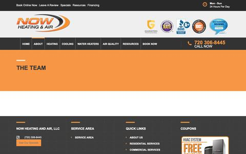 Screenshot of Team Page nowha.com - The Team | Air Conditioners & Heater Repair Denver - captured Oct. 20, 2018