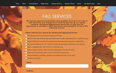 Screenshot of Services Page blackwood-management.com - Remodel | Pittsford | Blackwood Management | Fall Clean-up Form - captured Nov. 6, 2018