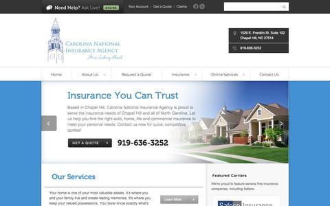Screenshot of Home Page cniagency.com - Chapel Hill, NC Insurance Agency   Carolina National Insurance Agency - captured Oct. 2, 2014