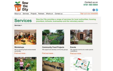 Screenshot of Services Page sowthecity.org - Sow the City - captured Aug. 15, 2016