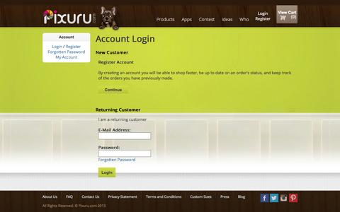 Screenshot of Login Page pixuru.com - Account Login - captured Sept. 30, 2014