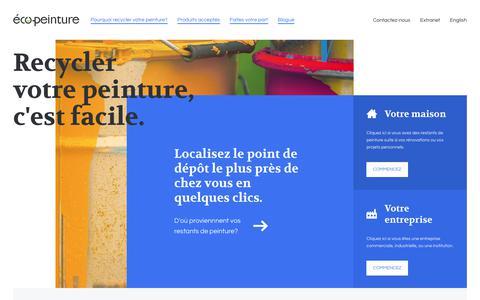 Screenshot of Home Page ecopeinture.ca - Le recyclage de peinture commence ici | Éco-Peinture - captured Oct. 29, 2018