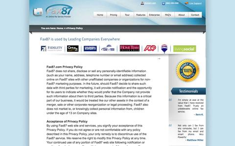 Screenshot of Privacy Page fax87.com - #1 Electronic Fax Company - captured Sept. 23, 2014