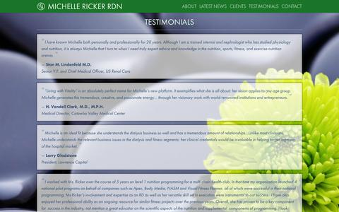 Screenshot of Testimonials Page michellericker.com - Testimonials | Michelle Ricker RDN – Registered Dietitian Nutritionist - captured Nov. 5, 2014