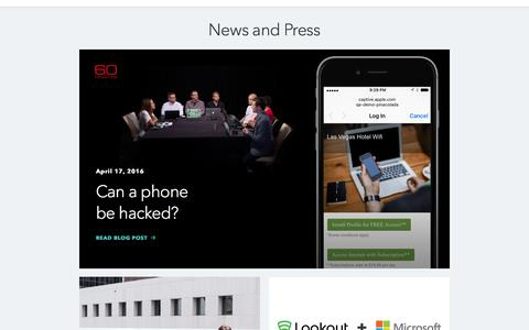 Screenshot of Press Page lookout.com - News and Press - captured June 23, 2016