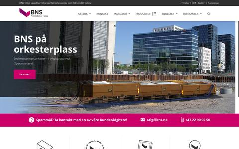 Screenshot of Home Page bns-container.no - Forsiden - captured Oct. 4, 2014