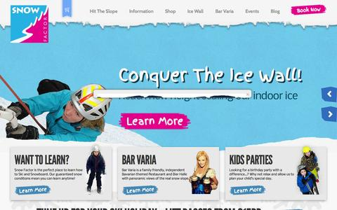 Screenshot of Home Page snowfactor.com - Learn to Ski + Snowboard at Scotland's only indoor ski slope - captured Jan. 26, 2015