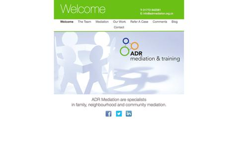 Screenshot of Home Page adrmediation.org.uk - Welcome - captured Aug. 5, 2015