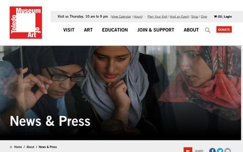 Screenshot of Press Page toledomuseum.org - News & Press | The Toledo Museum of Art - captured Oct. 18, 2018