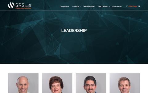 Screenshot of Team Page srssoft.com - Leadership - SRS Software - captured April 20, 2016