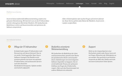 Screenshot of Services Page incom.org - Incom: Die Kommunikationsplattform für die Hochschule - captured Oct. 11, 2018