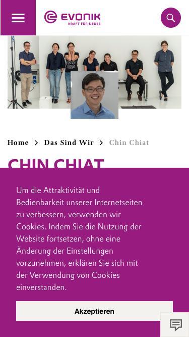 Screenshot of Team Page  evonik.com - Chin Chiat                                                                - Evonik Careers