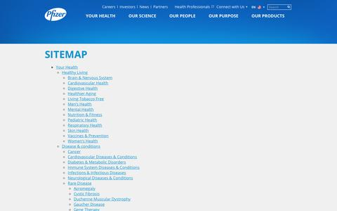 Screenshot of Site Map Page pfizer.com - Sitemap | Pfizer: One of the world's premier biopharmaceutical companies - captured Oct. 18, 2017