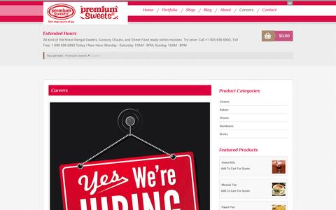 Screenshot of Jobs Page premiumsweets.ca - Careers | Premium Sweets - captured Oct. 3, 2014