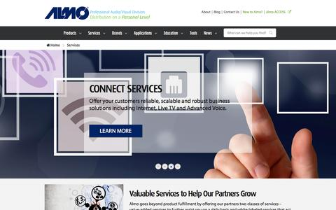 Screenshot of Services Page almoproav.com - Audio/Visual Services offered by Almo ProAV - captured Feb. 5, 2016