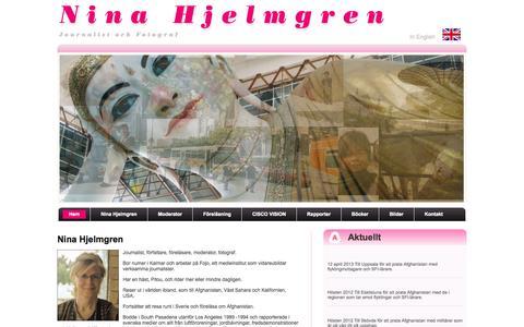 Screenshot of Home Page ninahjelmgren.com - Startsida - Ninahjelmgren.se - captured Oct. 1, 2014