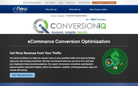 Screenshot of goinflow.com - Conversion Rate Optimization (CRO) from Inflow's Experts - captured March 20, 2016