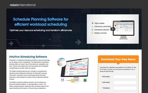 Screenshot of Landing Page retaininternational.com - Scheduling Software - Efficient Scheduling software for your business   Retain International - captured Sept. 8, 2016