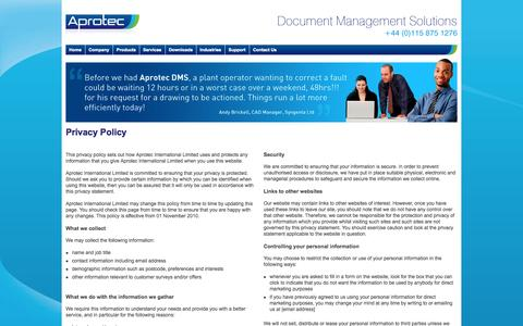 Screenshot of Privacy Page aprotec.co.uk - Aprotec - The FIRST NAME in Document Management Solutions - captured Oct. 4, 2014