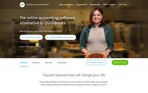 Screenshot of Home Page xero.com - Accounting Software & Online Bookkeeping | Xero - captured Sept. 20, 2015