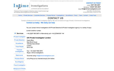 Screenshot of Contact Page intimeinvestigations.com - Contact a London private investigator and detective agency. Supplying detectives and Investigators to Essex, Kent. UK Investigation agencies - captured Sept. 30, 2014