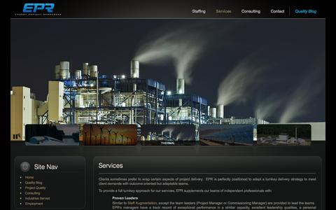 Screenshot of Services Page epr-inc.com - Services | Energy Project Resources - captured Nov. 8, 2016