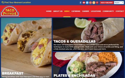 Screenshot of Menu Page tacopalenque.com - Menu   Taco Palenque - captured Oct. 19, 2018