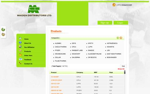 Screenshot of Products Page mdl.co.in - Maiden distributors, pharmaceutical distributors delhi india, medicine wholesalers delhi, carrying and forwarding agents delhi - captured Oct. 4, 2014