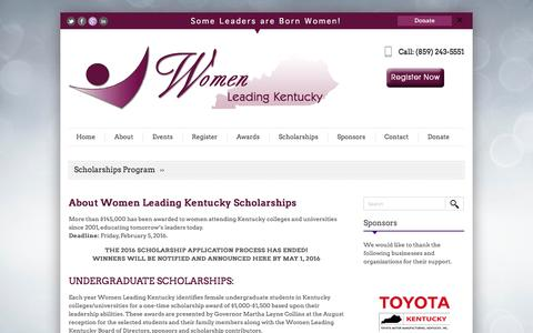 Screenshot of About Page womenleadingky.com - Women Leading KY Scholarships | Women Leading Kentucky - captured June 24, 2016