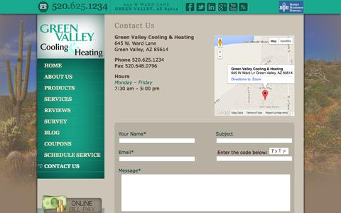 Screenshot of Contact Page greenvalleycooling.com - Contact Us   Green Valley Cooling and Heating - captured Oct. 23, 2014