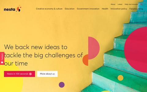 Screenshot of Home Page nesta.org.uk - Nesta | The Innovation Foundation - captured Sept. 20, 2018