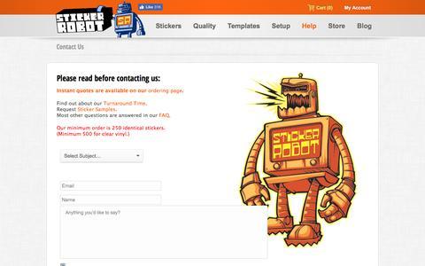 Screenshot of Contact Page stickerobot.com - Contact Us - captured Jan. 6, 2017