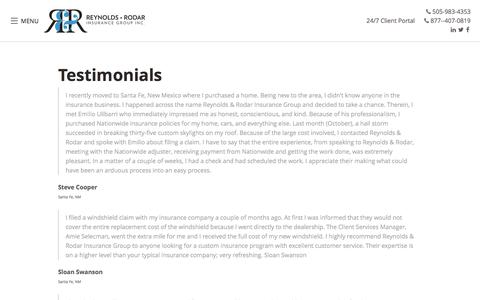 Screenshot of Testimonials Page reynoldsinsurance.com - Testimonials - Reynolds & Rodar Insurance Group Inc. - captured June 14, 2017