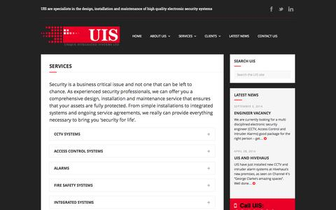 Screenshot of Services Page uis-security.co.uk - Services - UIS - Electronic Security Systems - captured Nov. 5, 2014