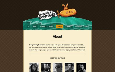 Screenshot of About Page swingswingsubmarine.com - About | Swing Swing Submarine - captured Oct. 26, 2014