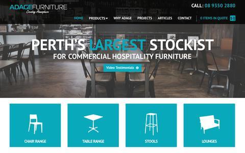 Screenshot of Home Page adagefurniture.com.au - Commercial Furniture Perth, Cafe & Restaurant Furniture Perth - Call 1800 683 477 - Adage Furniture - captured July 28, 2018