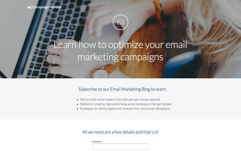 Screenshot of Landing Page campaignmonitor.com - Learn how to optimize your email marketing campaigns - captured Dec. 15, 2015