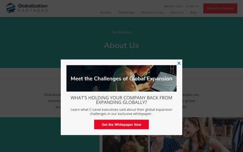 Screenshot of About Page globalization-partners.com - About Us | Globalization Partners - captured June 2, 2018