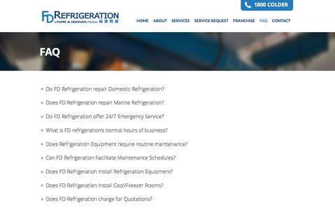 Screenshot of FAQ Page fdrefrigeration.com.au - Faq | FD Refrigeration - captured Aug. 9, 2018