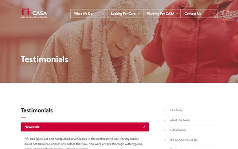Screenshot of Testimonials Page casaltd.com - Testimonials - CASA: Care and Share Associates - captured Nov. 25, 2017