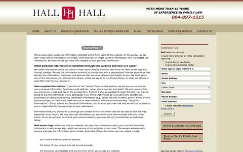 Screenshot of Privacy Page hallandhallfamilylaw.com - Privacy Policy | Hall & Hall, PLC | - captured Oct. 19, 2016