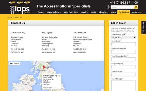 Screenshot of Contact Page iapsgroup.com - Contact Us | IAPS Group – The Access Platform Specialists - captured Dec. 18, 2015