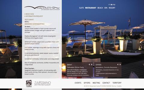 Screenshot of Menu Page vistamaresuite.com - Restaurant - Vistamare - captured Oct. 26, 2014