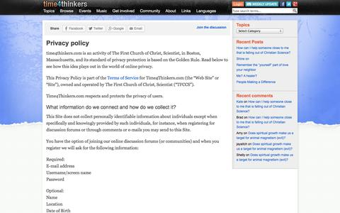 Screenshot of Privacy Page time4thinkers.com - Privacy policy - time4thinkers - captured Oct. 6, 2014