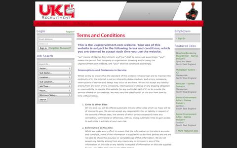 Screenshot of Terms Page ukgrecruitment.com - UK Games - Computer Games Industry Recruitment Agency - Home - captured Oct. 3, 2014