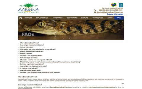 Screenshot of FAQ Page sabrinabraziltravel.com - FAQ - Frequently Asked Questions About Brazil and Traveling to Brazil | Sabrina Brazil Travel - captured Oct. 27, 2014