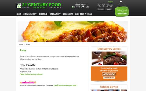 Screenshot of Press Page 21stcenturyfood.com - 21st Century Food in the Press - captured Oct. 7, 2014