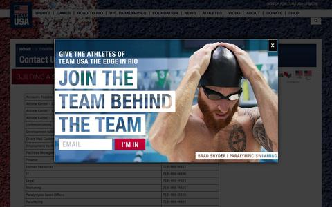 Screenshot of Contact Page teamusa.org - Contact the USOC and Team USA - captured Nov. 7, 2015